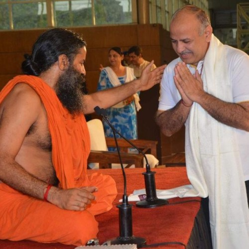sisodiya with swami ramdev