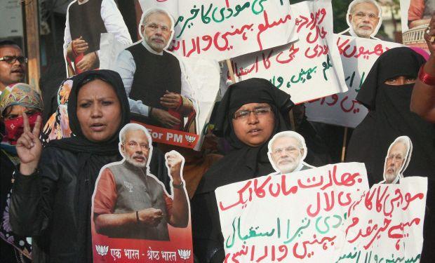 Muslim women campaign for BJP candidate Narendra Modi in Varanasi