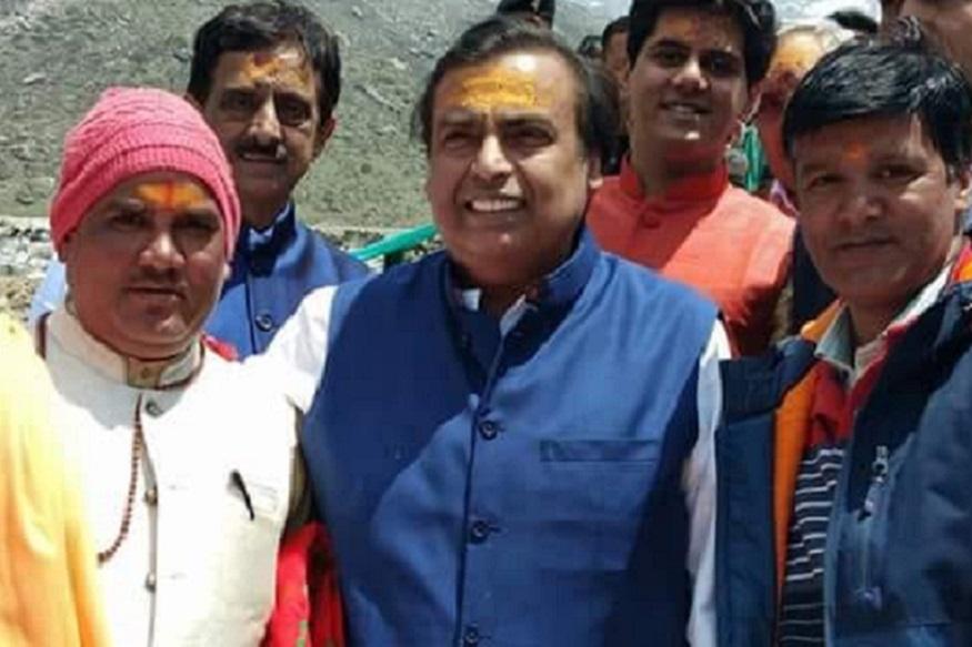 Mukesh Ambani Raches Kedarnath to offer invitation