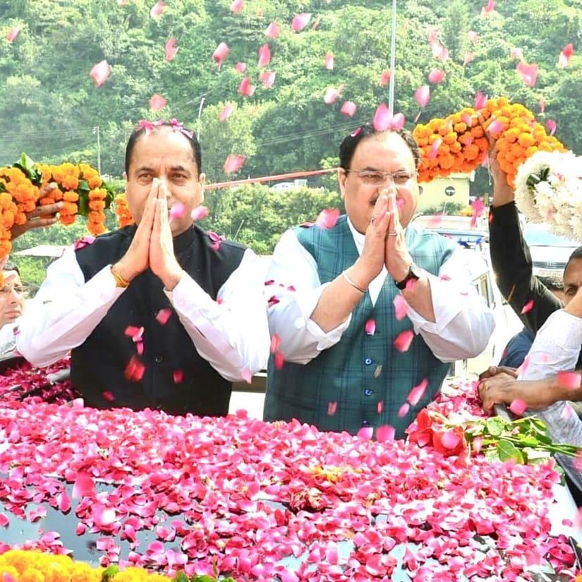 अभिनंदन समारोह में मुख्यमंत्री जयराम ठाकुर जी को और नड्डा जी को मिला प्रदेश की जनता का इतना प्यार रोड शो में टूटे रिकार्ड