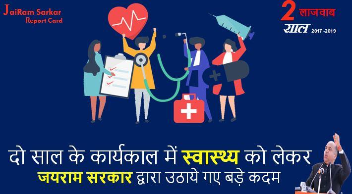 जयराम सरकार के दो साल पुरे हो रहे हैं इन दो सालों में स्वास्थ्य को लेकर सरकार द्वारा उठाये गए बड़े कदमों की एक झलक।